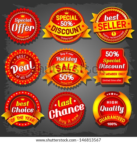 Set of  luxury vector sale labels. - stock vector
