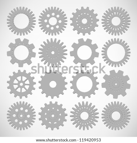 SET of Machine Gear Wheel Cogwheel Vector, EPS10 Vector background - stock vector