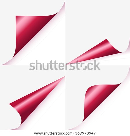 Set of magenta curled corners of page - stock vector