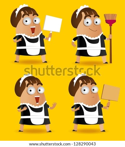 Set of Maid with sweeper. Vector illustration - stock vector