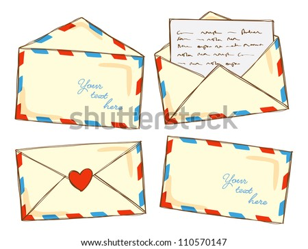 set of mail in doodle style - stock vector