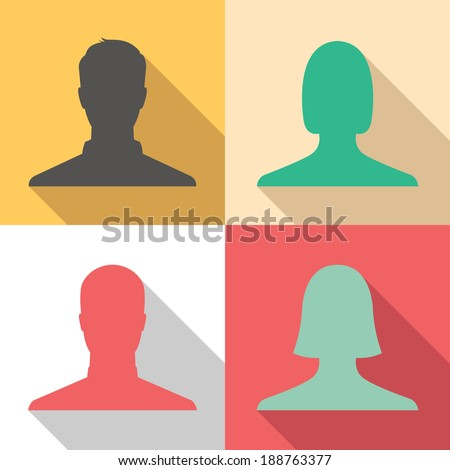 Set of male and female avatar profile picture icons - colorful vintage colors - stock vector