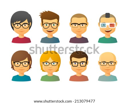 Set of male avatars wearing glasses with various hair styles - stock vector