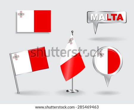 Set of Maltese pin, icon and map pointer flags. Vector illustration. - stock vector