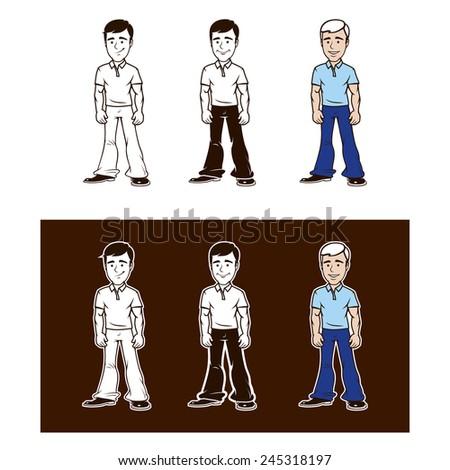 Set of man characters. Vector format - stock vector