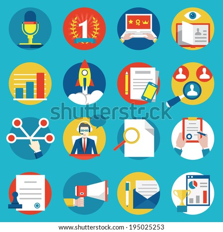 Set of management human resources and customer experience icons - vector icons - stock vector