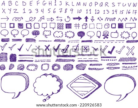 Set of many hand-drawn arrows isolated vector highlighter elements - stock vector