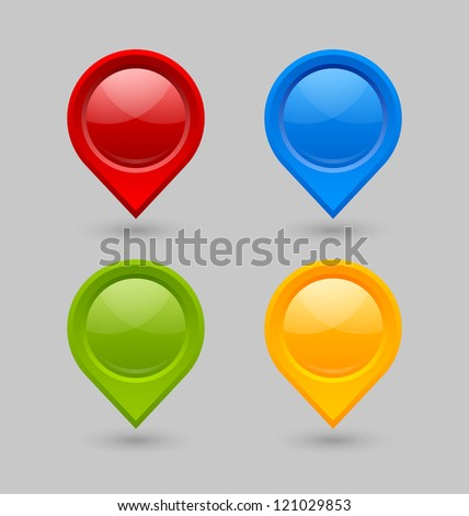 Set of map mark pointers isolated on grey background - stock vector
