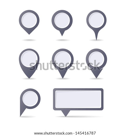 Set of map pointers - stock vector