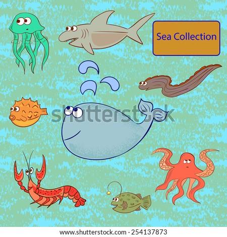Set of marine animals. Sea collection. Vector illustration. - stock vector