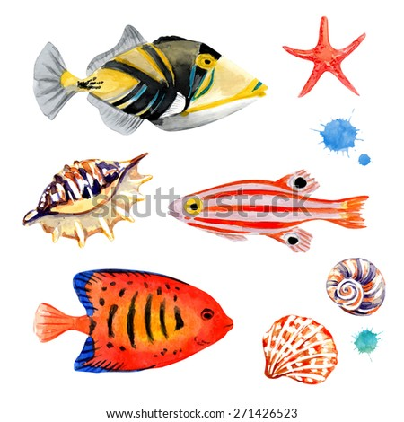 Set of marine fish. Vector illustration. Watercolor background. Angelfish. Tropical fish. - stock vector