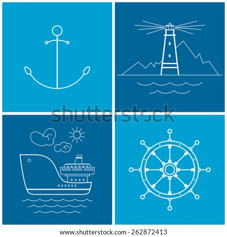 Set of maritime icons for web design. Icons anchor,lighthouse, cargo ship, ship's wheel, vector illustration - stock vector