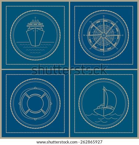 Set of maritime retro emblems. Cruise ship,compass rose, lifebuoy, yacht, vector illustration - stock vector