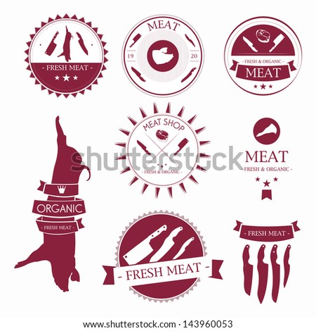 Set of meat shop labels and design elements - stock vector