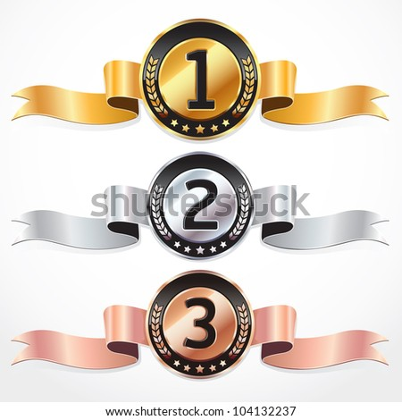 Set of Medal Numbers with Ribbon. Vector illustration. - stock vector