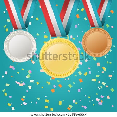 set of medals on confetti background - stock vector