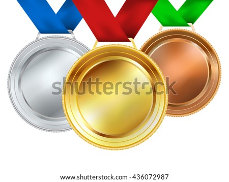 set of medals on white. vector illustration - stock vector
