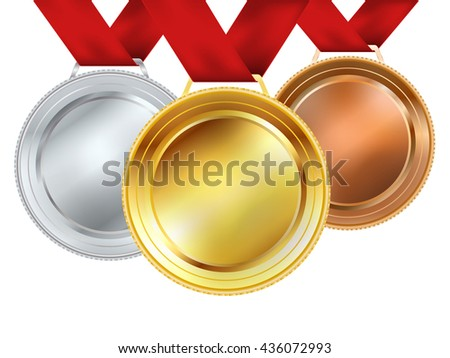 set of medals with red ribbons on white. vector illustration - stock vector