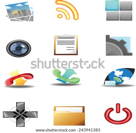 set of media and communication icons - stock vector