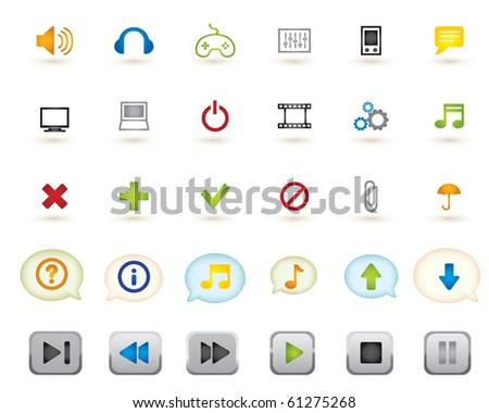 set of media graphics icons - stock vector