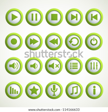 Set of Media player icons. Vector illustration. - stock vector