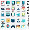 Set of media service flat icons - part 2 - vector icons - stock vector