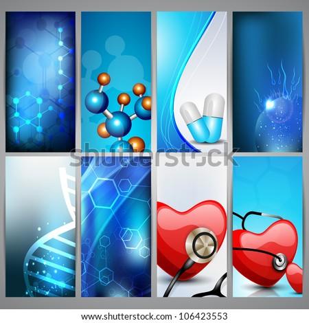 Set of medical banners, vertical arrange. EPS 10. - stock vector