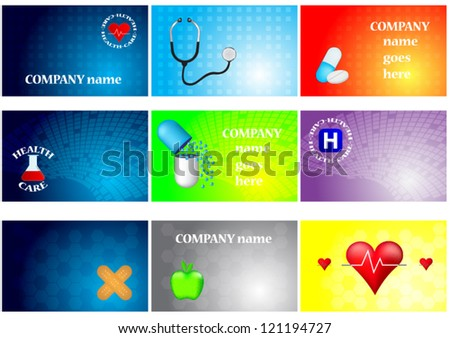 Set of medical cards - stock vector