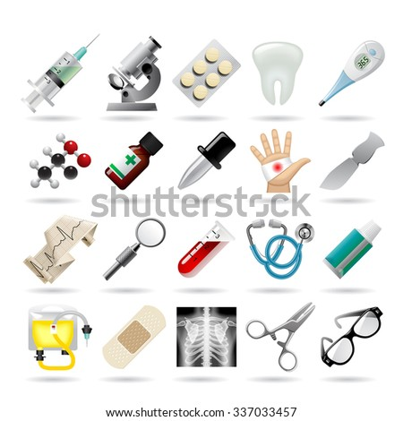 Set of medical icons and tools. Vector Illustration - stock vector
