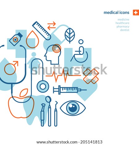 Set of medical icons. Icons for medicine, healthcare, pharmacy, dentist. - stock vector