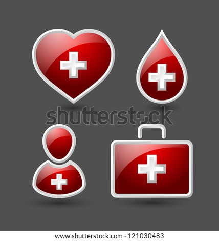 Set of medical icons isolated on grey background - stock vector