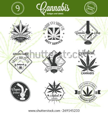 Set of medical marijuana logos. Cannabis badges, labels and logos for your shop design - stock vector