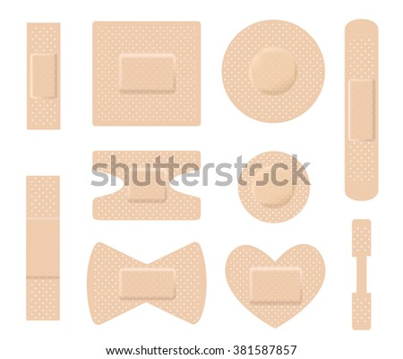 Set of medical plasters. Adhesive bandage set on white. vector - stock vector