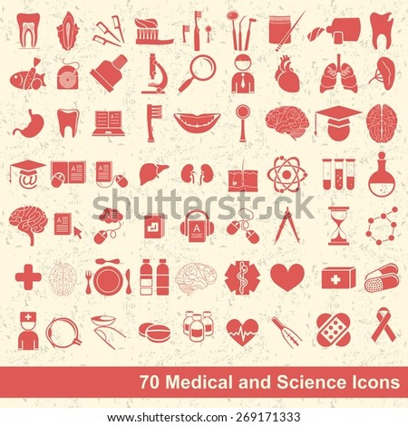 set of 70 medical, science and anatomical icons - stock vector