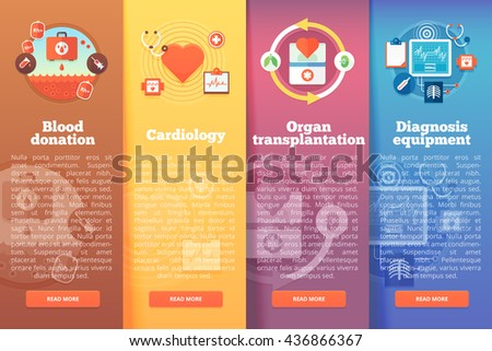 Set of medical science vector flat banners. Medical and healthcare vertical layout concepts. Flat modern style. - stock vector