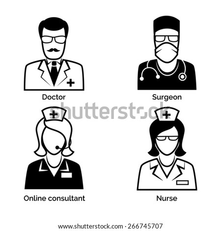 Set of medical staff icons. Doctor and nurse, surgeon and physician, online consultant and assistance. Vector illustration - stock vector