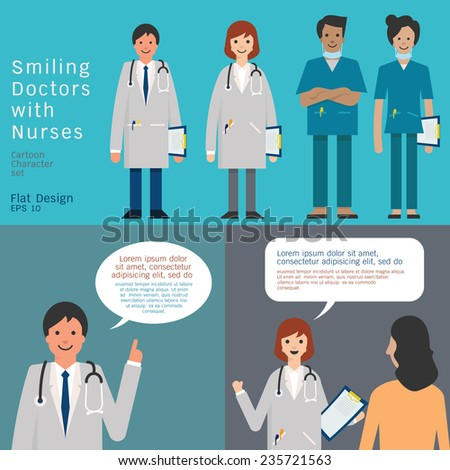 Set of medical team, doctors and nurse. And doctors giving advice and consultant. Simple character with flat design. - stock vector