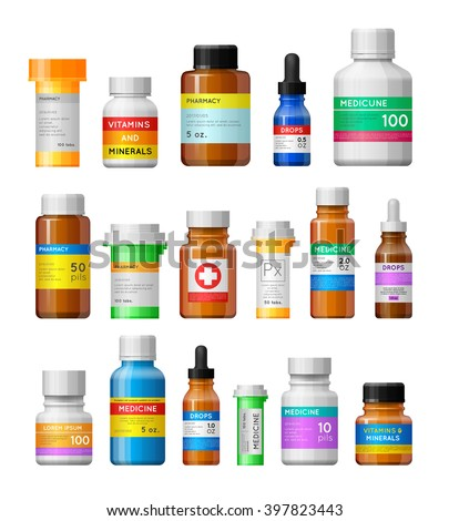 Set of medicine bottles with labels. Empty bottles for drugs,tablets,capsules,prescriptions,vitamins etc. Pharmaceutic containers isolated on white background.  - stock vector