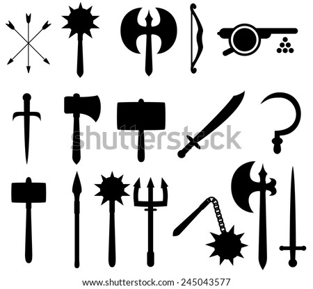 Set of medieval-style weapon icons. - stock vector