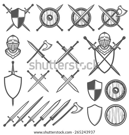 Set of medieval swords, shields and design elements - stock vector