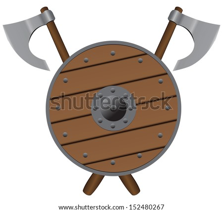 Set of medieval warrior armed with axes and a light shield. Vector illustration. - stock vector