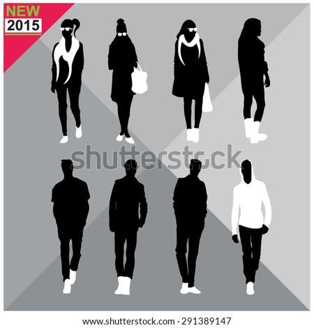Set of men and women black silhouettes,editable - stock vector
