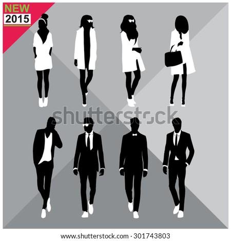 Set of men and women black silhouettes, editable - stock vector