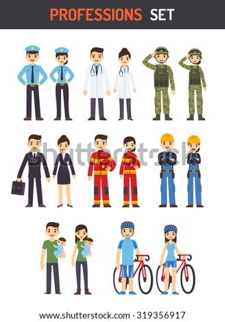 Set of men and women of different professions: policeman, fireman, doctor, soldier, construction worker, businessman, athlete and stay at home parent. Cute cartoon vector illustration. - stock vector