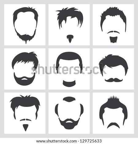 Set of men's hair and facial hair graphic designs - stock vector