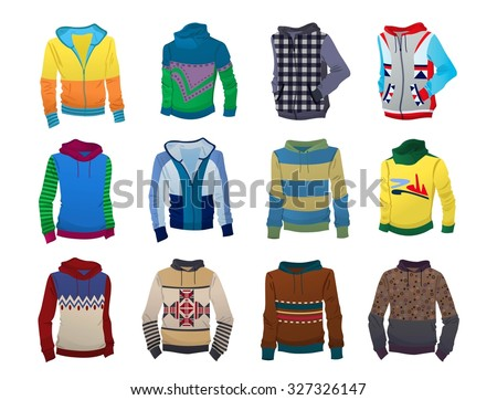 Set of men's hoodies isolated on white background - stock vector