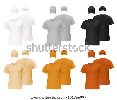Set of men's t-shirts and hats templates with front and back views. - stock vector