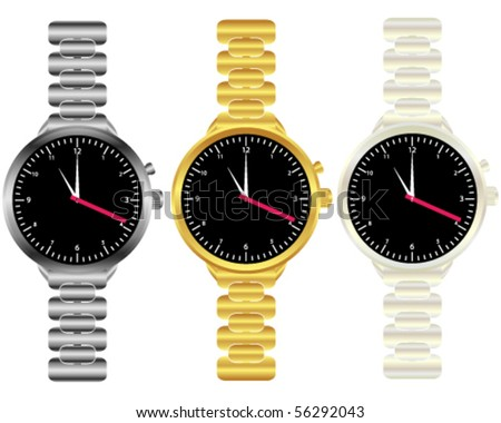 Set of Mens Wrist Watches - stock vector
