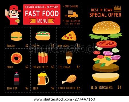 set of menu modern flat icon , fast food menu infographic Concept, Elements flyer design for restaurant and cafe ,vector illustration - stock vector