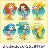 Set of mermaids with background - stock vector